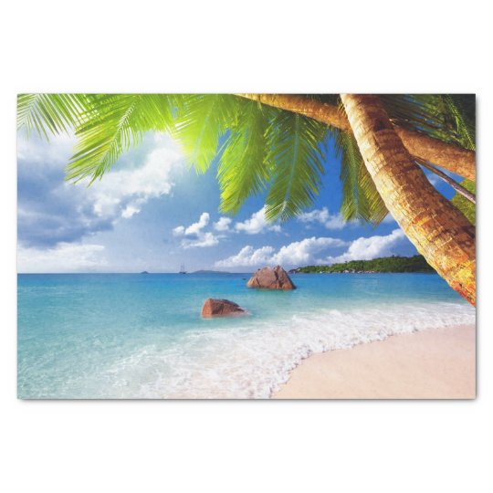 Tropical Beach Scene with Palm Trees Tissue Paper