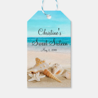 Tropical Beach Sea Shell Sweet 16 Favor|Gift Tags
