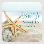 Tropical Beach Sea Shell Sweet 16 Favour Labels Square Sticker