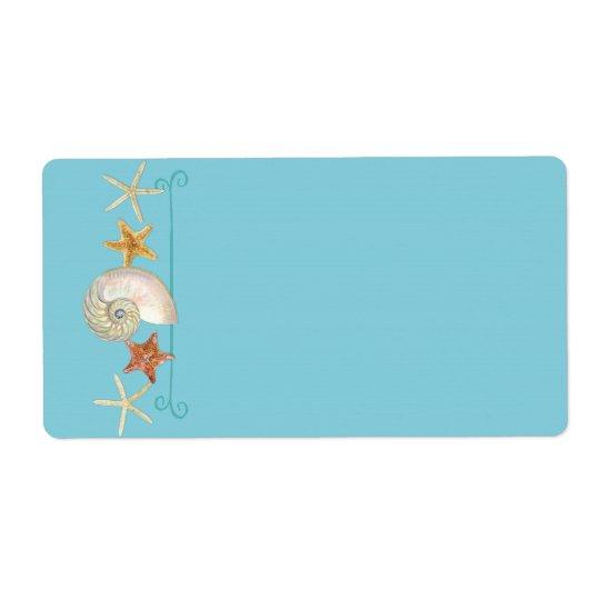 Tropical Beach Shells Starfish Nautilus Summer Shipping Label