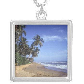 Tropical Beach Square Silver Necklace
