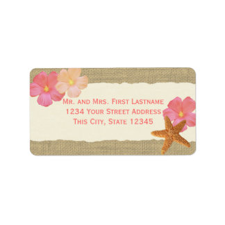 Tropical Beach Starfish and Hibiscus Address Label