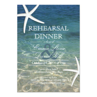 Tropical Beach Starfish Rehearsal Dinner Card