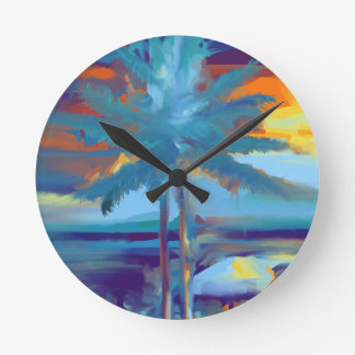 Tropical beach summer sunset, palm tree abstract round clock