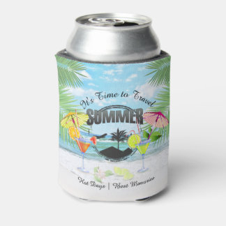 Tropical Beach, Summer Vacation | Personalized Can Cooler