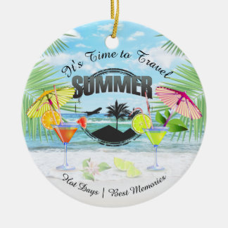 Tropical Beach, Summer Vacation   Personalized Christmas Ornament
