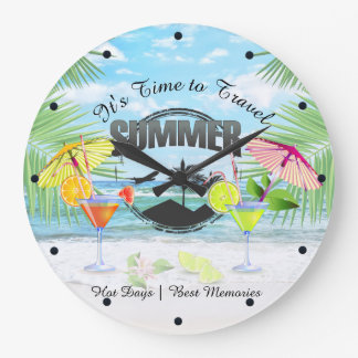 Tropical Beach, Summer Vacation   Personalized Large Clock