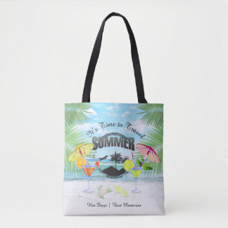 Tropical Beach, Summer Vacation | Personalized Tote Bag