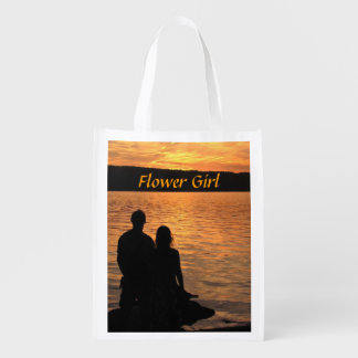 Tropical Beach Sunset Flower Girl Bag Reusable Grocery Bag