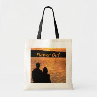 Tropical Beach Sunset Flower Girl Tote Bag