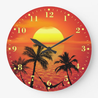 Tropical Beach Sunset Ocean Palm Trees | Large Clock