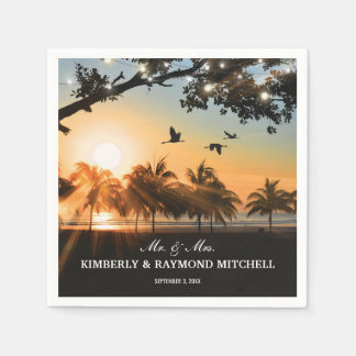 Tropical Beach Sunset String Lights Wedding Disposable Napkins