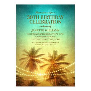 Hawaiian birthday cards invitations zazzle tropical beach themed 50th birthday party hawaiian card m4hsunfo