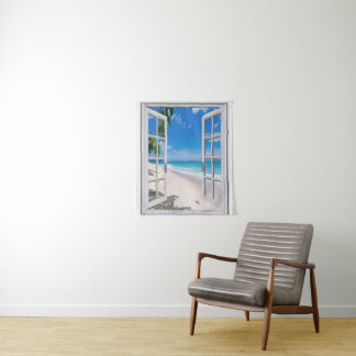 Tropical Beach Themed Wall Hanging Tapestry