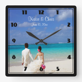 Tropical Beach Themed Wedding Couple Square Wallclock