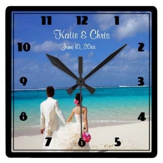 Tropical Beach Themed Wedding Couple Wall Clocks
