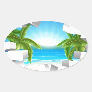 Tropical beach Through Wall Oval Sticker