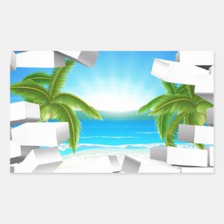 Tropical beach Through Wall Rectangular Sticker