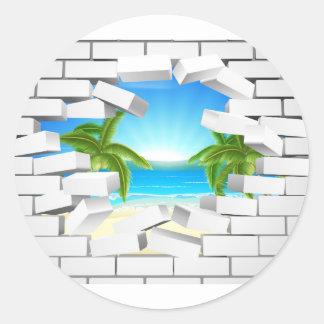 Tropical beach Through Wall Round Sticker