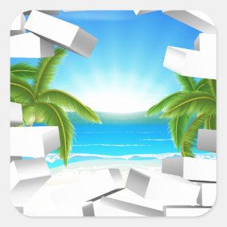 Tropical beach Through Wall Square Sticker