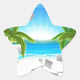 Tropical beach Through Wall Star Sticker