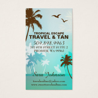 Tropical Beach Travel & Tan Business Card Blue