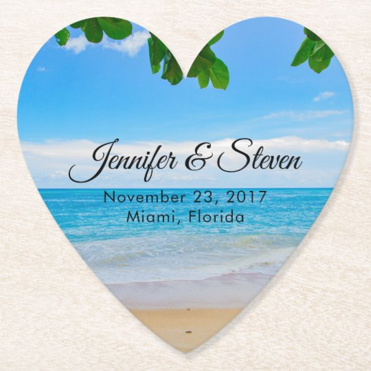 Tropical Beach Vacation Island Wedding Paper Coaster