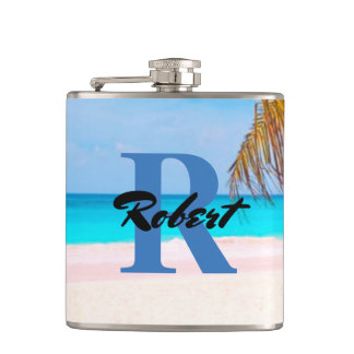 Tropical Beach View - Personalized - Flasks