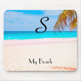 Tropical Beach View with Initial - Mouse Mat