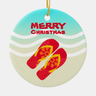 Tropical Beach Waves Merry Christmas Christmas Ornament