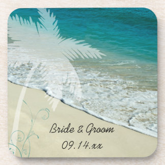 Tropical Beach Wedding Cork Coasters