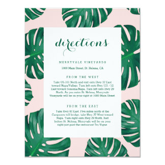 Tropical Beach Wedding Directions Card