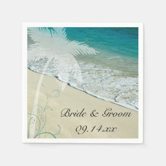 Tropical Beach Wedding Disposable Serviettes