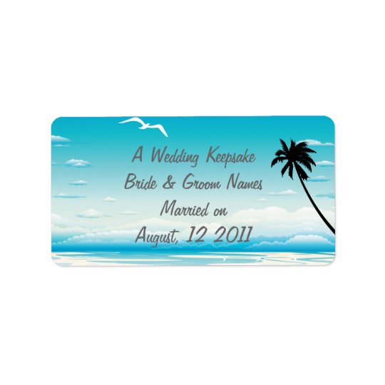 Tropical Beach Wedding Favour Lip Balm Tube Label