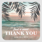 Tropical Beach Wedding Favour   String of Lights Square Sticker