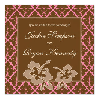 Tropical Beach Wedding Hibiscus Flower Pink Brown Invitations
