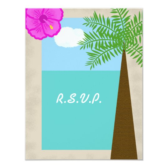 Tropical Beach Wedding RSVP Invitation