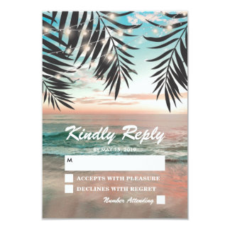 Tropical Beach Wedding RSVP | String of Lights Card