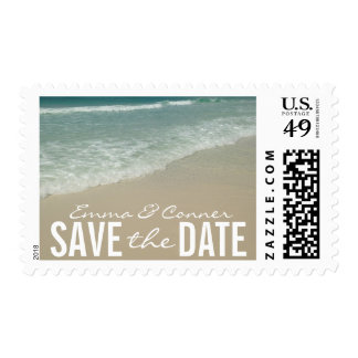 Tropical Beach Wedding Save the Date Postage Stamp