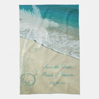 Tropical Beach Wedding Save the Date Tea Towel