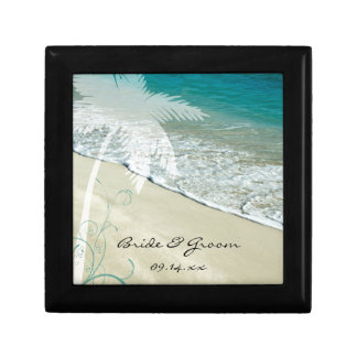 Tropical Beach Wedding Small Square Gift Box