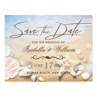 Tropical Beach Wedding Starfish Save the Date Postcard