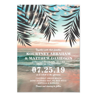 Tropical Beach Wedding | String of Lights Card