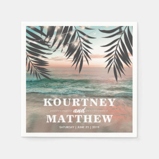 Tropical Beach Wedding | String of Lights Disposable Napkins