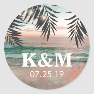 Tropical Beach Wedding | String of Lights Monogram Classic Round Sticker