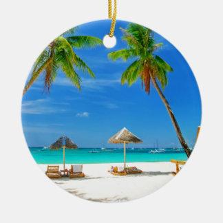 TROPICAL BEACH WISH YOU WERE HERE CUSTOM POSTCARD CHRISTMAS ORNAMENT