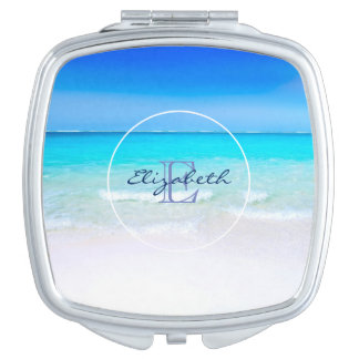 Tropical Beach with a Turquoise Sea Monogram Compact Mirror