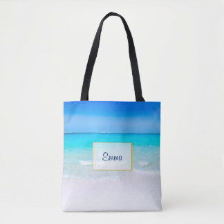 Tropical Beach with a Turquoise Sea Personalized Tote Bag
