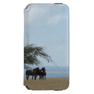 Tropical Beach with Horses Browsing on the Beach Incipio Watson™ iPhone 6 Wallet Case