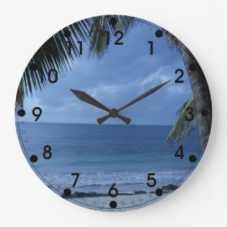 Tropical Beach with Palm Tree Large Clock